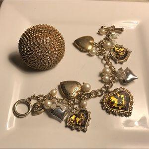 Betsey Johnson Charm Bracelet and Statement Ring